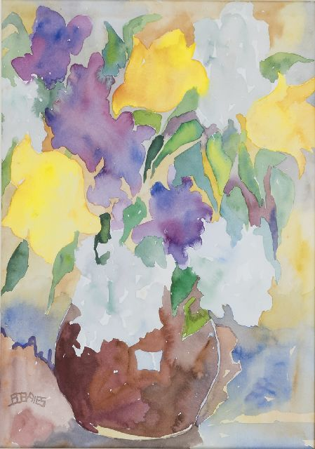 Vries J.S. de | Flowers in a vase, watercolour on paper 37.1 x 26.3 cm, signed l.l. with monogram and painted in 1960's