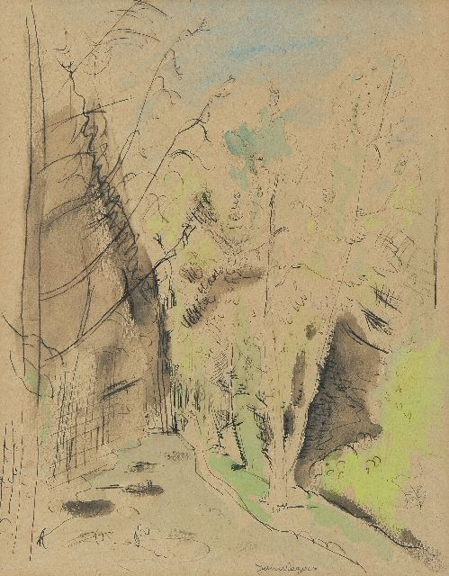 Jan Wiegers | Forest road, pen and ink and watercolour on paper, 32.1 x 25.3 cm, signed l.m.