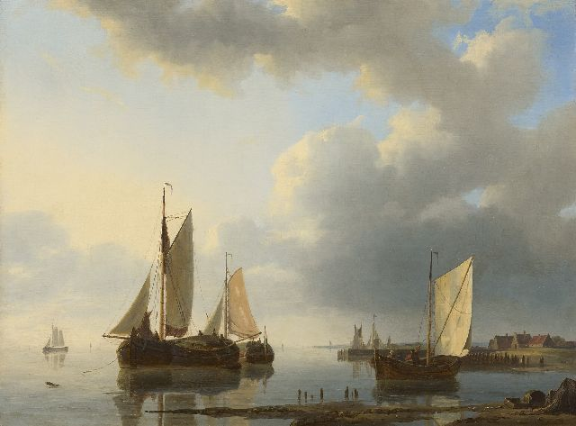 Abraham Hulk | Moored sailing ships in a calm sea, oil on panel, 34.0 x 45.0 cm, signed l.r.