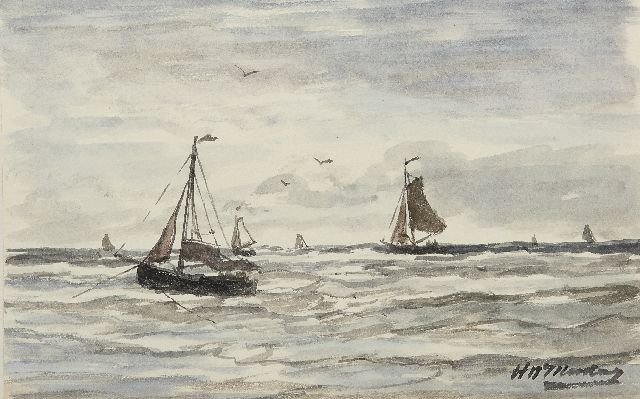 Hendrik Willem Mesdag | Fishing boats in the surf, Scheveningen, watercolour on paper, 13.2 x 21.0 cm, signed l.r.