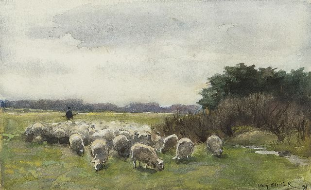 Willem Steelink jr. | A shepherd and his flock, watercolour on paper, 10.1 x 16.5 cm, signed l.r. and dated '99