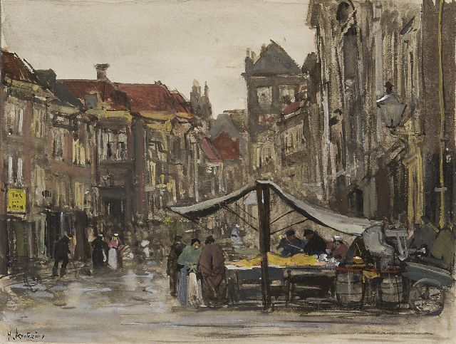 Floris Arntzenius | The Voldersgracht, the Hague, watercolour on paper, 12.0 x 16.0 cm, signed l.l. and painted ca. 1888