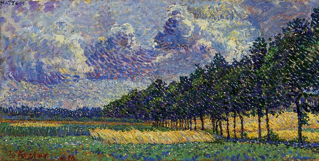 Jo Koster | A summer landscape near Hattem, oil on board, 17.7 x 34.6 cm, signed l.l. and dated 1915