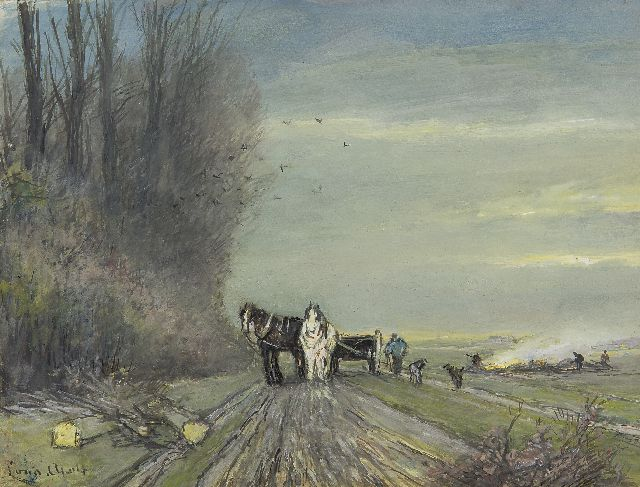 Louis Apol | A horse-drawn cart on a country road in winter, gouache on paper, 18.0 x 23.2 cm, signed l.l.