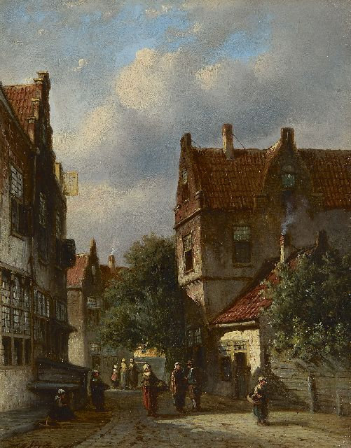 Petrus Gerardus Vertin | A Dutch street scene, oil on panel, 23.6 x 18.6 cm, signed l.l.