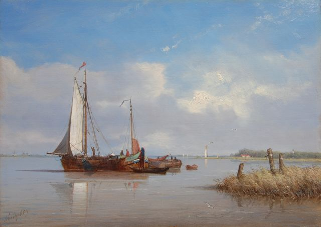 Petrus Paulus Schiedges | Anchored in a calm, oil on panel, 24.5 x 34.0 cm, signed l.l. and dated '59