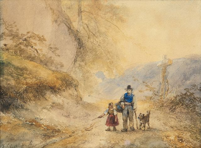 Andreas Schelfhout | Travellers on a country road, pencil and watercolour on paper, 23.3 x 30.5 cm, signed l.l.