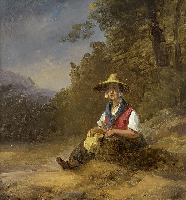Schelfhout A.  | A resting country woman, oil on panel 16.8 x 15.5 cm, signed l.r.