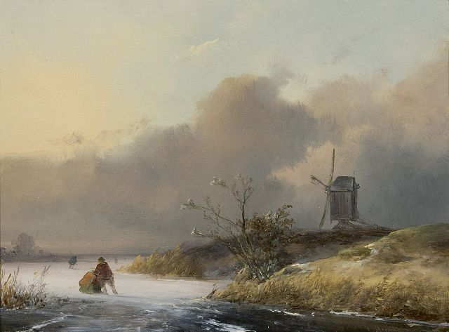 Johannes Franciscus Hoppenbrouwers | Skaters in a winter landscape, oil on panel, 18.9 x 24.9 cm, signed l.r. and dated '49