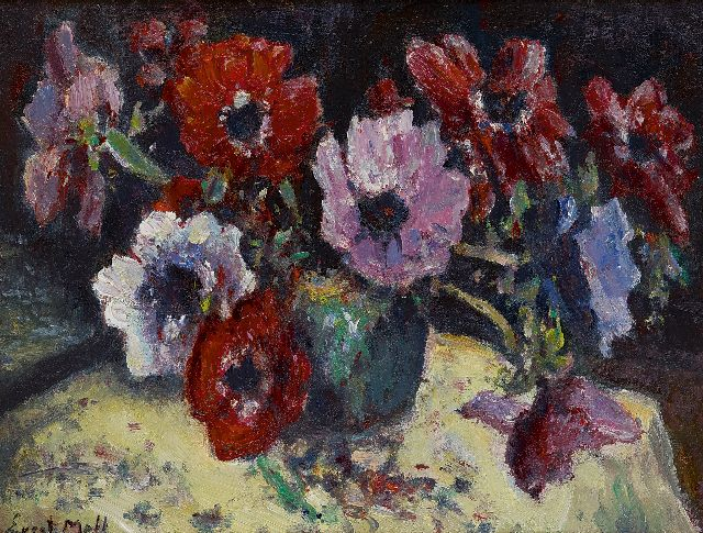 Moll E.  | Anemones, oil on canvas 30.5 x 40.1 cm, signed l.l.