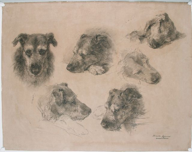 Henriette Ronner-Knip | Sketches of a dog, charcoal on paper, 76.4 x 96.3 cm, signed l.r.