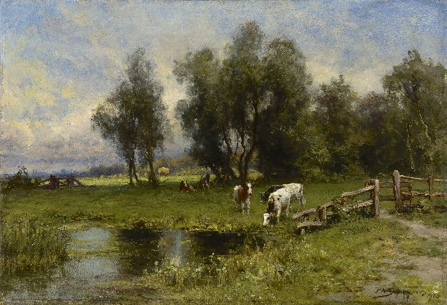 Piet Schipperus | A polder landscape with cattle, oil on panel, 46.4 x 67.7 cm, signed l.r. and dated 1920