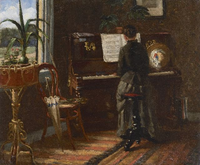 Jacob Hendrik Geerlings | At the piano, oil on canvas, 37.6 x 45.3 cm, signed l.r. with initials