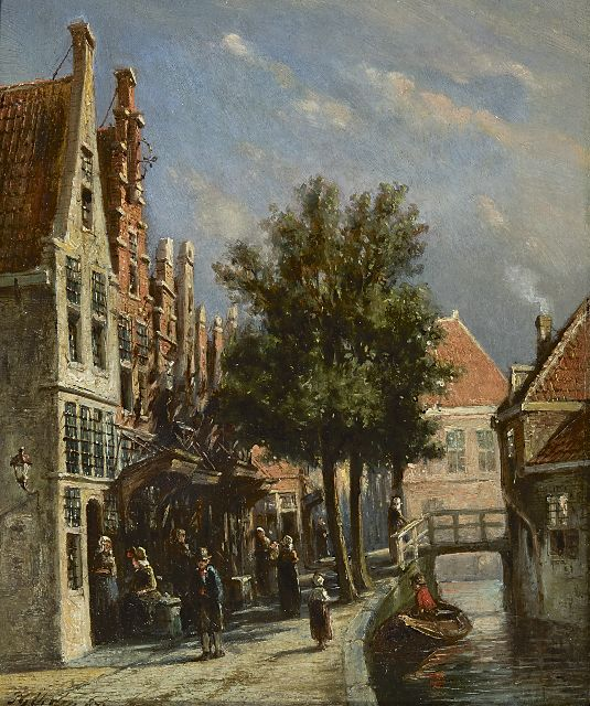 Petrus Gerardus Vertin | A Dutch canal scene, oil on panel, 21.9 x 18.0 cm, signed l.l. and dated '73