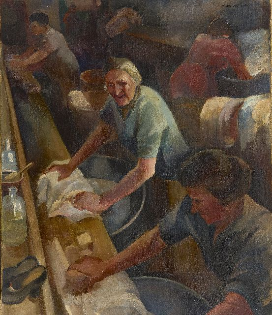 Feer A. van der | Laundresses, oil on canvas 70.3 x 60.1 cm, signed u.r.