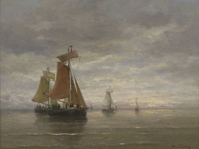 Hendrik Willem Mesdag | Fishing ships in a calm, oil on panel, 39.5 x 51.0 cm, signed l.r.