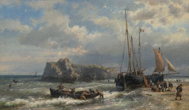 Koekkoek H.  | Ships and fishermen on the French coast, oil on canvas 45.1 x 76.7 cm, signed l.r.