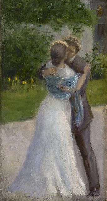 Josef Engelhart | Bride and groom kissing, oil on canvas laid down on panel, 36.3 x 20.0 cm, signed u.l.