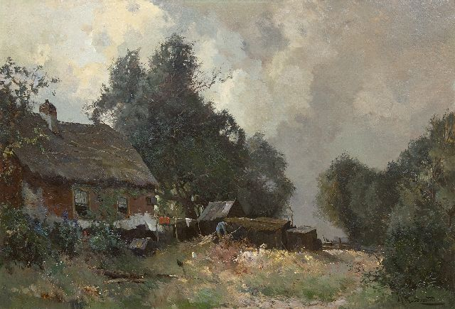 Driesten A.J. van | At work on the farmyard        Farmer working in his yard, oil on canvas 52.5 x 76.5 cm, signed l.r.