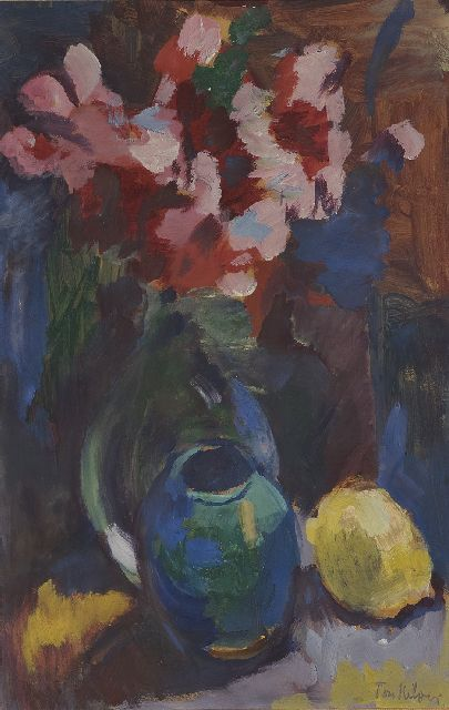 Kelder A.B.  | A still life with flowers, a vase and a lemon, gouache on paper 40.0 x 28.2 cm, signed l.r.