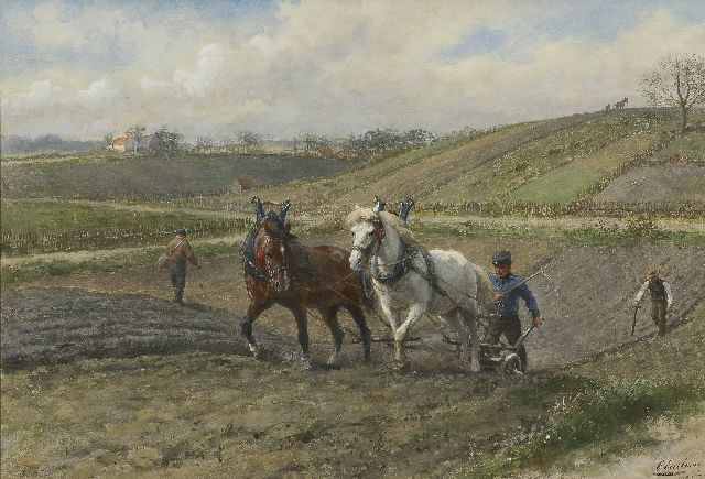 Eerelman O.  | Two horses pulling the plough, near Arnhem, watercolour on paper 47.6 x 69.6 cm, signed l.r. and painted ca. 1902-1907