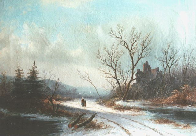 Jan Jacob Spohler | Travellers on a snow-covered path, oil on canvas, 35.0 x 49.5 cm, signed l.l.
