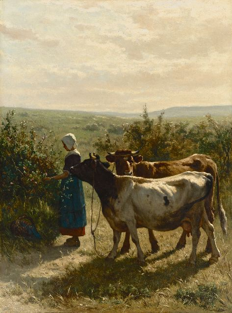 Jan de Haas | Young shepherdess with her cattle, oil on canvas, 88.3 x 66.6 cm, signed l.r.