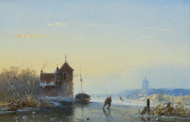 Josephus Gerardus Hans | A winter landscape with skaters, oil on panel, 10.4 x 14.7 cm, signed l.l. with initials