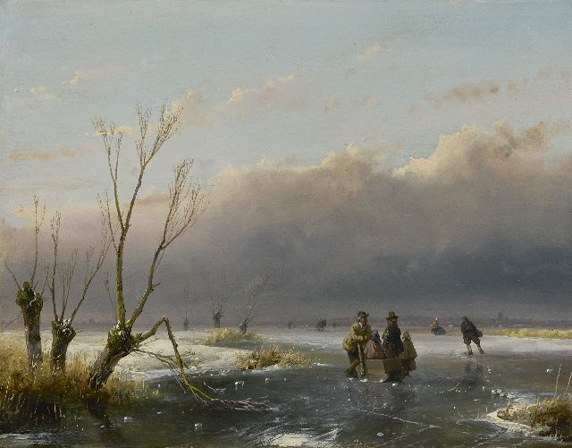 Andreas Schelfhout | Skaters in an extensive winter landscape, oil on panel, 21.1 x 26.9 cm, signed l.r. and dated '46