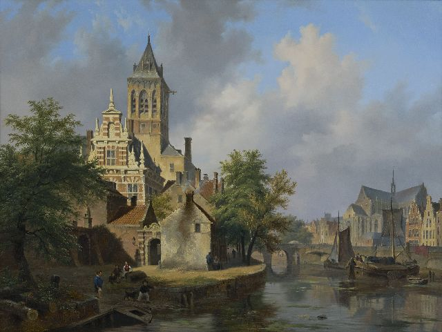 Bart van Hove | A sunny townview, oil on panel, 61.7 x 82.5 cm, signed l.l. and dated 1840