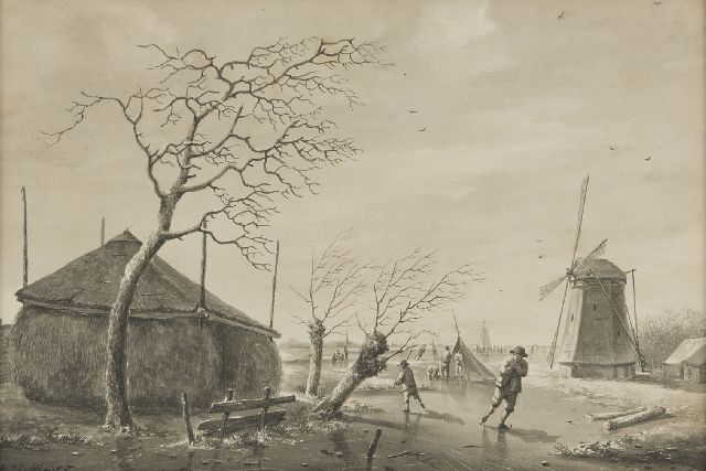 Andreas Schelfhout | Skaters on a frozen canal, pen, brush and ink on paper, 26.1 x 38.0 cm, signed l.l. and painted ca. 1805-1850