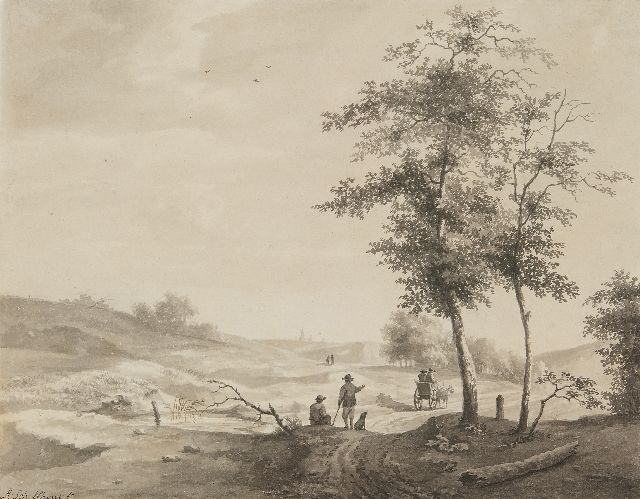 Schelfhout A.  | Travellers in a hilly landscape, brush and ink on paper 26.6 x 33.7 cm, signed l.l.