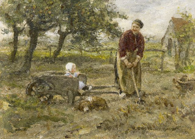 Jan Zoetelief Tromp | Gathering potatoes, oil on canvas, 25.3 x 35.2 cm, signed l.r.