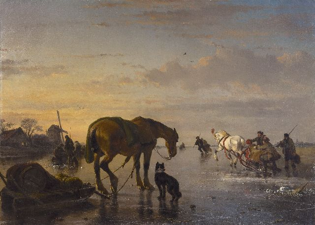Josephus Jodocus Moerenhout | Horses and sledges on a frozen river, oil on canvas, 85.0 x 118.5 cm, signed l.r.