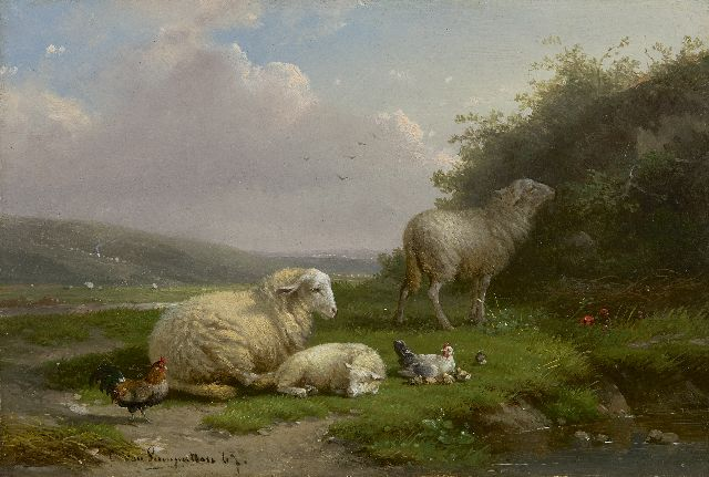 Cornelis van Leemputten | Sheep and chickens on a pond, oil on panel, 16.6 x 24.1 cm, signed l.l. and dated '67
