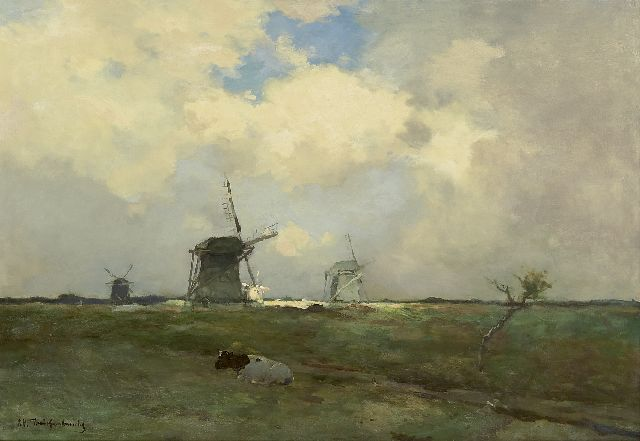 Jan Hendrik Weissenbruch | Windmills in a polder landscape, oil on canvas, 57.2 x 83.3 cm, signed l.l.