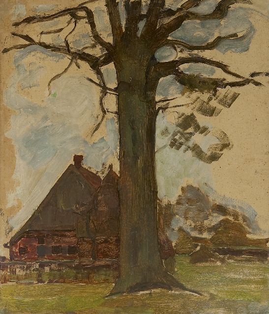 Mondriaan P.C.  | Farm with tree, oil on board laid down on panel 75.5 x 64.0 cm, painted circa 1906-1907
