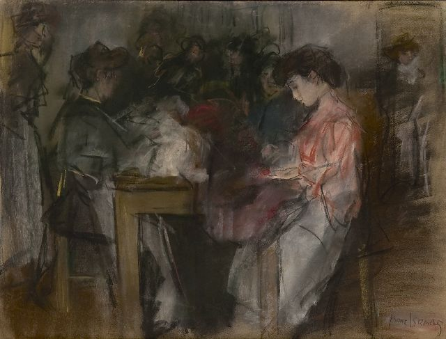 Isaac Israels | Seamstresses at the Atelier Paquin, Paris, pencil and pastel on paper, 49.6 x 64.3 cm, signed l.r. and executed ca. 1904