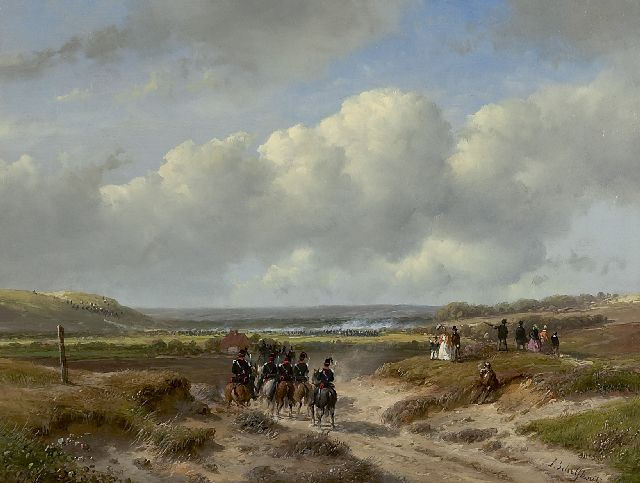 Andreas Schelfhout | The Hague garrison at the Waalsdorpervlakte, oil on panel, 22.1 x 29.2 cm, signed l.r. and painted ca. 1862