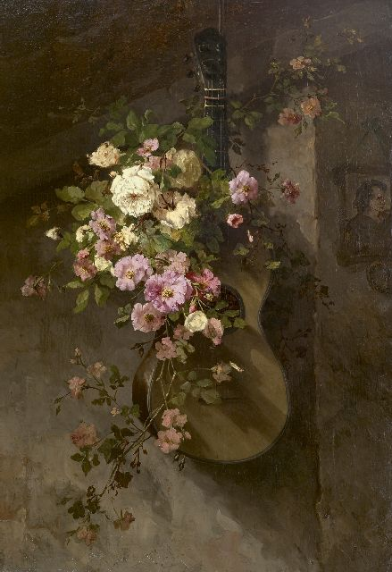 Margaretha Roosenboom | Roses on a Spanish guitar, oil on canvas, 110.8 x 75.9 cm