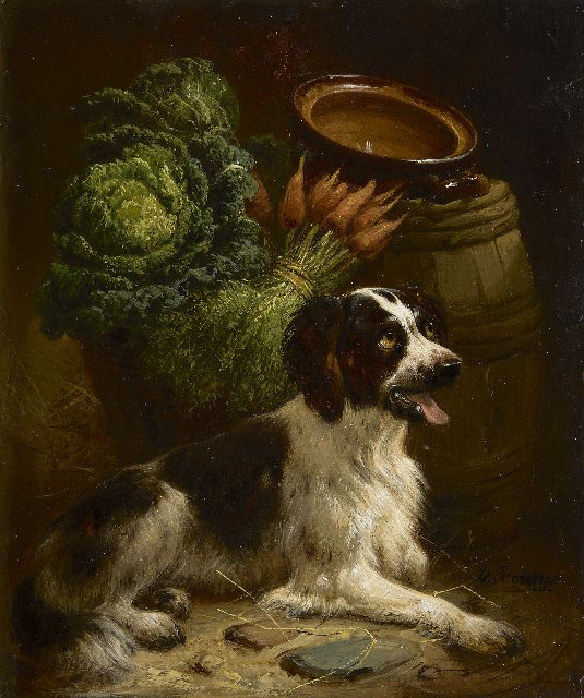 Henriette Ronner-Knip | A young setter, oil on panel, 18.8 x 15.8 cm, signed l.r.