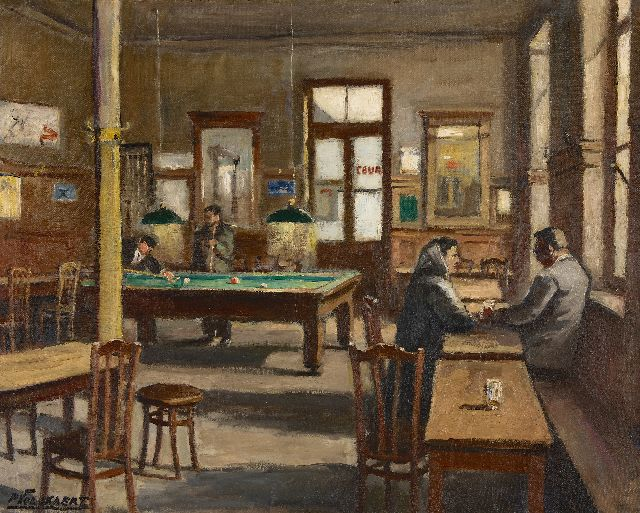 Volckaert P.  | The billiards room of café Le Lievekenshoek in Brussels, oil on canvas 80.5 x 100.7 cm, signed l.l. and on the reverse