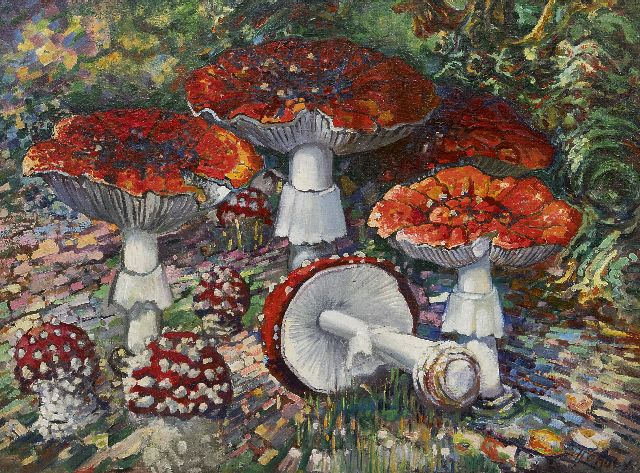 Chris Lanooy | Fly agaric mushrooms, oil on canvas laid down on board, 52.2 x 68.7 cm, signed l.r.