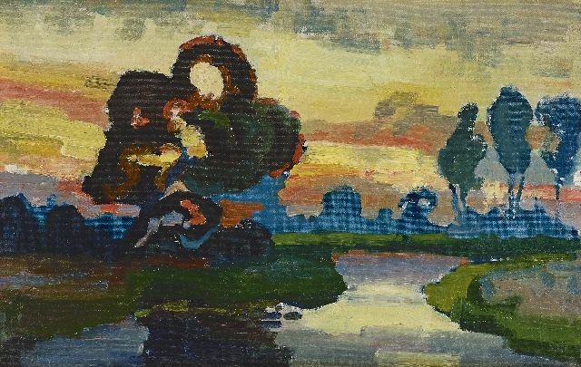 Chris Lanooy | A river landscape at sunset, oil on canvas laid down on panel, 31.4 x 49.3 cm