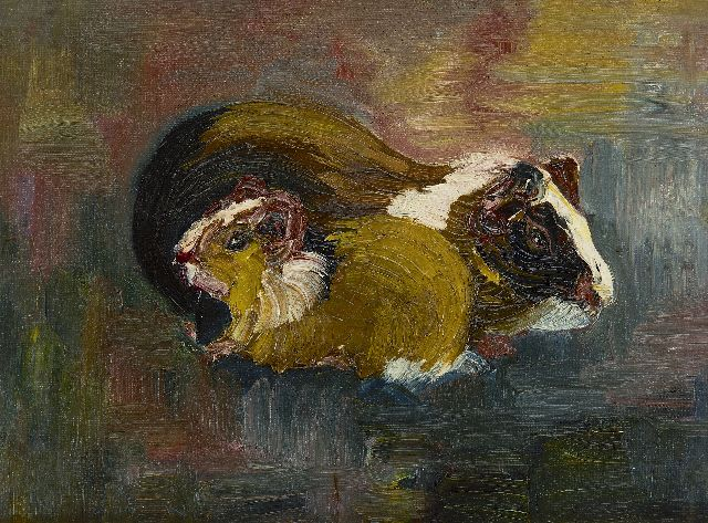 Chris Lanooy | Guinea-pigs, oil on canvas laid down on board, 22.0 x 29.5 cm