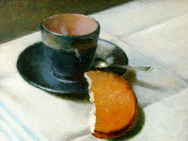 Anthonie Pieter Schotel | Still life with cup and saucer, oil on canvas laid down on panel, 24.0 x 30.0 cm, signed u.l.