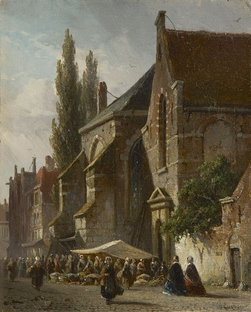 Adrianus Eversen | Market day near the church, oil on panel, 19.0 x 15.3 cm, signed l.r.