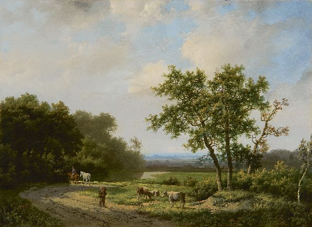 Marinus Adrianus Koekkoek I | Travellers and cattle on a country road, oil on panel, 26.5 x 35.9 cm, signed l.l.
