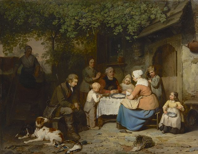 Johannes Antonius Canta | Praying before the meal, oil on panel, 63.9 x 82.5 cm, signed l.r.