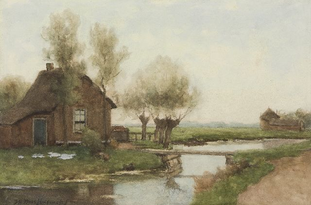 Jan Hendrik Weissenbruch | A farm in a polder landscape, watercolour on paper, 34.8 x 52.6 cm, signed l.l.